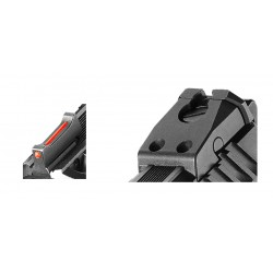 Adjustable rear sights + front sight