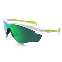OAKLEY M2 POLISHED WHITE W/JADE IRIDIUM POLARIZED SUNGLASSES